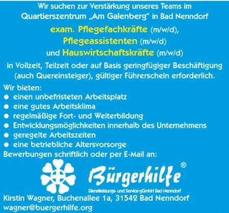 """exam. Pflegefachkräfte, Pflegeassistenten, Hauswirtschaftskräfte, Quartierszentrum """"Am Galenberg"""", Bad Nenndorf"""