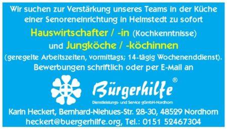 """Hauswirtschafter, Jungköche, Seniorenzentrum """"Am Juleum"""", Helmstedt"""