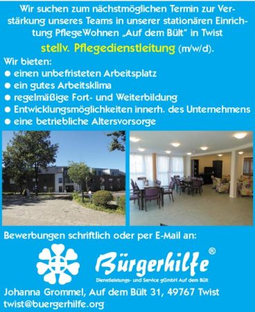 """stellv. Pflegedienstleitung, PflegeWohnen """"Auf dem Twist"""", Twist"""