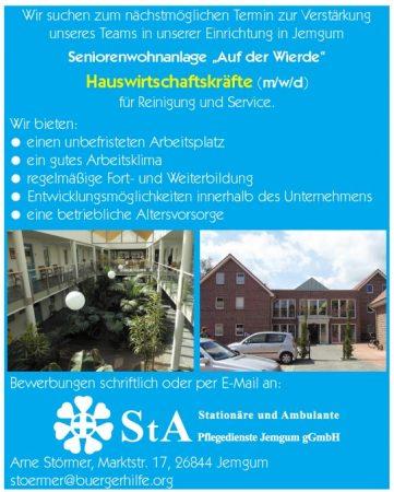 """Hauswirtschaftskräfte, Seniorenwohnanlage """"Auf der Wierde"""", Jemgum"""