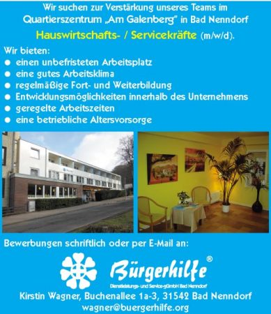 """Hauswirtschafts- / Servicekräfte, Quartierszentrum """"Am Galenberg"""", Bad Nenndorf"""