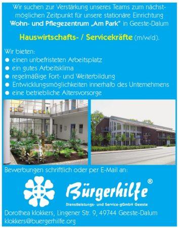 """Hauswirtschafts-/Servicekräfte, Wohn- und Pflegzentrum """"Am Park"""", Geeste-Dalum"""