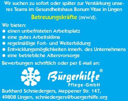 "Betreuungskräfte, Gesundheitshaus ""Bonum Vitae"", Lingen"