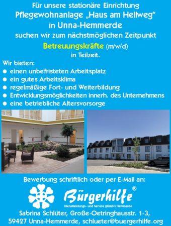 """Betreuungskräfte, Pflegewohnanlage """"Haus am Hellweg"""", Unna-Hemmerde"""