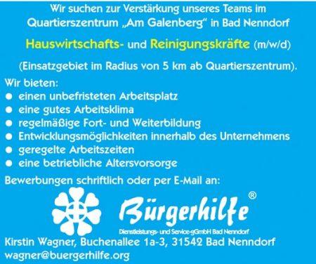 """Hauswirtschafts- und Reinigungskräfte, Quartierszentrum """"Am Galenberg"""", Bad Nenndorf"""