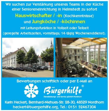 "Hauswirtschafter, Jungkoch, Seniorenzentrum ""Am Juleum"", Helmstedt"
