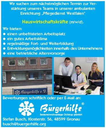 """Hauswirtschaftskräfte, """"Pflegedienst Westfalen"""", Gronau"""