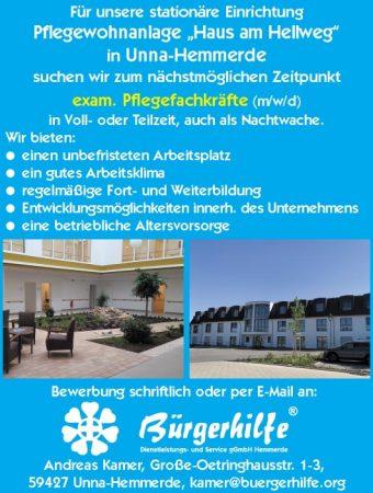 """exam. Pflegefachkräfte, Pflegewohnanlage """"Haus am Hellweg"""", Unna-Hemmerde"""