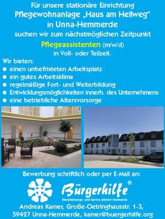 """Pflegeassistenten, Pflegewohnanlage """"Haus am Hellweg"""", Unna-Hemmerde"""