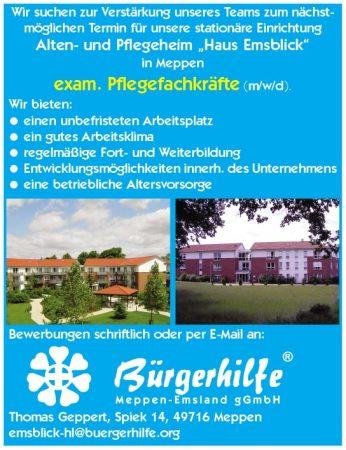 """exam. Pflegefachkräfte, Alten- und Pflegeheim """"Emsblick"""", Meppen"""