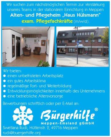 """exam. Pflegefachkräfte, Alten- und Pflegeheim """"Haus Hülsmann"""", Meppen"""