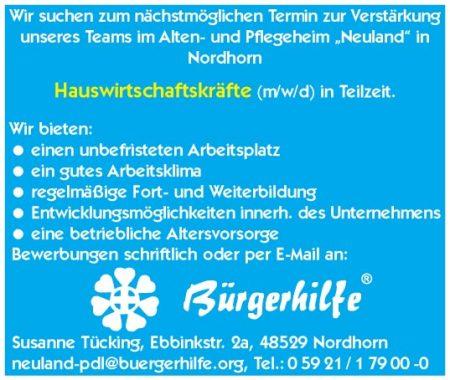 """Hauswirtschaftskräfte, Alten- und Pflegeheim """"Neuland"""", Nordhorn"""