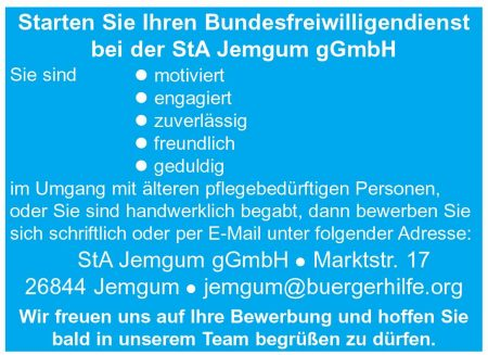 """Bundesfreiwilligendienst, Seniorenwohnanlage """"Auf der Wierde"""", Jemgum"""
