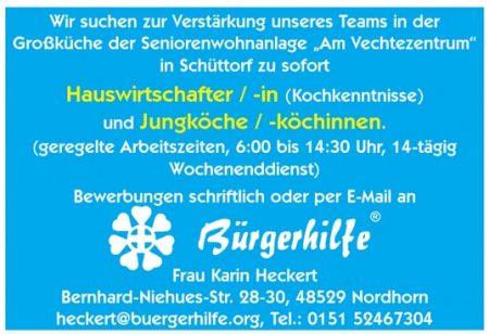 """Hauswirtschafter, Junköche / -köchinnen, Seniorenwohnanlage """"Am Vechtezentrum"""", Schüttorf"""