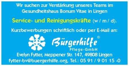 Service- und Reinigungskräfte, Gesundheitshaus 'Bonum Vitae', Lingen