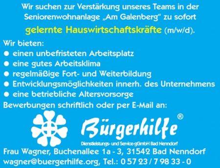 """Hauswirtschaftskräfte, Seniorenwohnanlage """"Am Galenberg"""", Bad Nenndorf"""