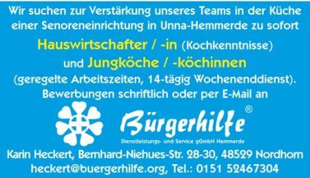 """Hauswirtschafter/in, Jungkoch/köchinnen, Pflegewohnanlage """"Haus am Hellweg"""", Unna-Hemmerde"""