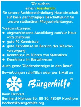 Assistent/in für Fachbereichsleitung Hauswirtschaft, Nordhorn