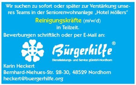 """Reinigungskräfte, Seniorenwohnanlage """"Hotel Möllers"""", Nordhorn"""
