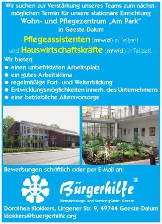 """Pflegeassistenten, Hauswirtschaftskräfte, Wohn- und Pflegezentrum """"Am Park"""", Geeste-Dalum"""