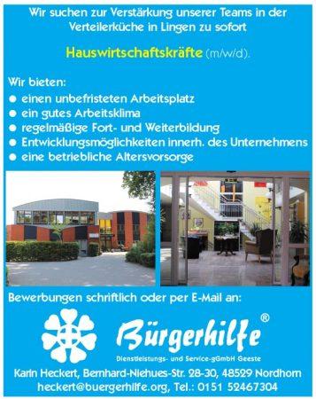 """Hauswirtschaftskräfte, Gesundheitshaus """"Bonum Vitae"""", Lingen"""