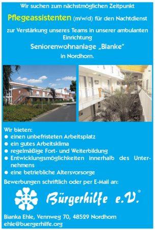 Pflegeassistenten für den Nachtdienst, Seniorenwohnanlage 'Blanke', Nordhorn