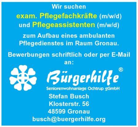exam. Pflegefachkräfte, Pflegassistenten, ambulanter Pflegedienst, Gronau