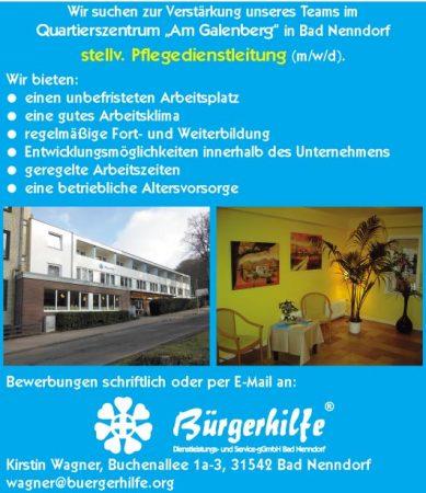 """stellv. Pflegedienstleitung, Quartierszentrum """"Am Galenberg"""", Bad Nenndorf"""