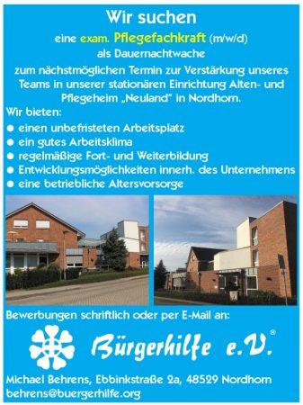 """exam. Pflegefachkraft als Dauernachtwache, Alten- und Pflegeheim """"Neuland"""", Nordhorn"""