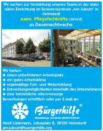 """exam. Pflegefachkräfte, Dauernachtwache, Seniorenzentrum """"Am Juleum"""", Helmstedt"""