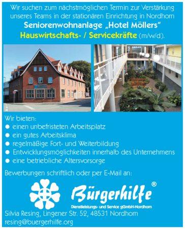 """Hauswirtschafts- / Servicekräfte, Seniorenwohnanlage """"Hotel Möllers"""", Nordhorn"""