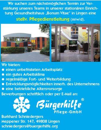 """stellv. Pflegedienstleitung, Gesundheitshaus """"Bonum Vitae"""", Lingen"""