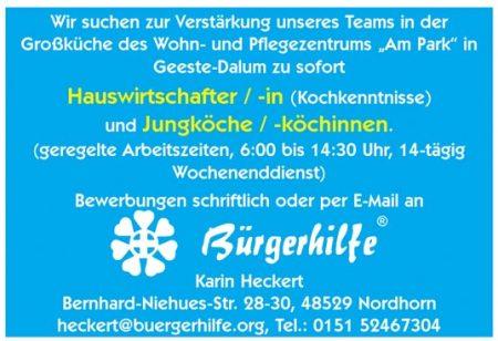"Jungkoch / -köchinnen, Wohn- und Pflegezentrum ""Am Park"", Geeste-Dalum"
