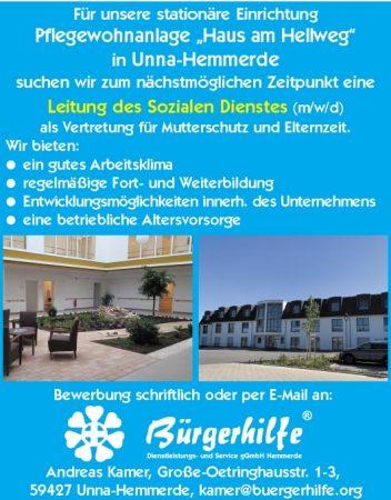 """Leitung des Sozialen Dienstes, Pflegewohnanlage """"Haus am Hellweg"""", Unna-Hemmerde"""