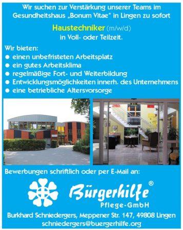"Haustechniker, Gesundheitshaus ""Bonum Vitae"", Lingen"
