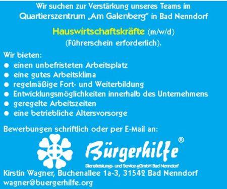 """Hauswirtschaftskräfte, Quartierszentrum """"Am Galenberg"""", Bad Nenndorf"""
