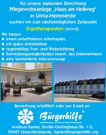 """Ergotherapeuten, Pflegewohnanlage """"Haus am Hellweg"""", Unna-Hemmerde"""