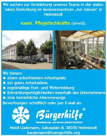 """exam. Pflegefachkräfte, Seniorenzentrum """"Am Juleum"""", Helmstedt"""