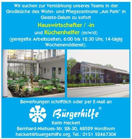 """Hauswirtschafter, Küchenhelfer, Wohn- und Pflegezentrum """"Am Park"""", Geeste-Dalum"""