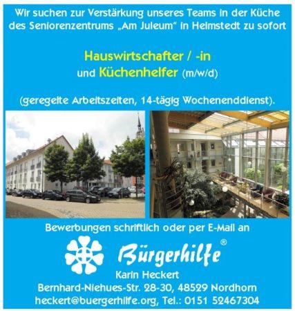 """Hauswirtschaftskräfte, Küchenhelfer, Seniorenzentrum """"Am Juleum"""", Helmstedt"""