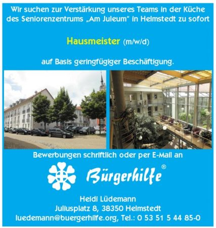 """Hausmeister, Seniorenzentrum """"Am Juleum"""", Helmstedt"""