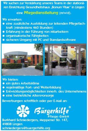 """Pflegedienstleitung, Gesundheitshaus """"Bonum Vitae"""", Lingen"""