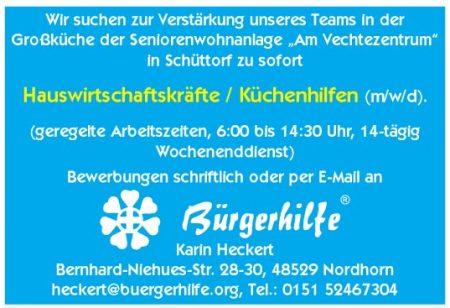 """Hauswirtschaftskräfte/Küchenhilfen, Senorenwohnanlage """"Am Vechtezentrum"""", Schüttorf"""