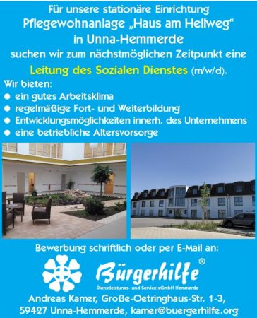 """Leitung des SozialenDienstes, Pflegewohnanlage """"Haus am Hellweg"""", Unna-Hemmerde"""