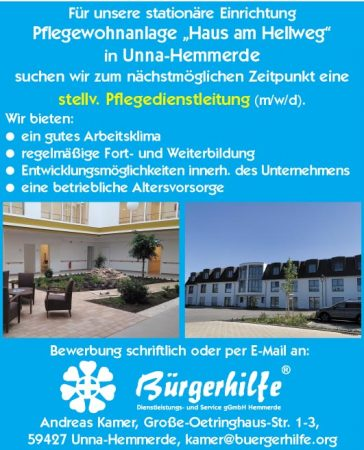 """stellv. Pflegedienstleitung, Pflegewohnanlage """"Haus am Hellweg"""", Unna-Hemmerde"""