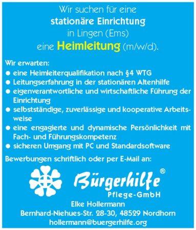 """Heimleitung, Gesundheitshaus """"bonum vitae"""", Lingen"""