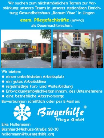 "Dauernachtwache, Gesundheitshaus ""bonum Vitae"", Lingen"