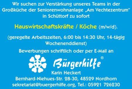 """Hauswirtschaftskräfte / Köche, Seniorenwohnanlage """"Am Vechtezentrum"""", Schüttorf"""