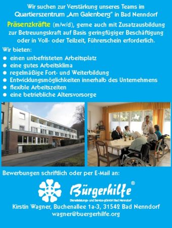 "Präsenzkräfte, Quartierszentrum ""Am Galenberg"", Bad Nenndorf"