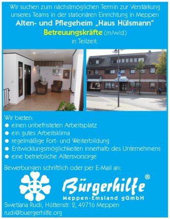"""Betreuungskräfte, Alten- und Pflegeheim """"Haus Hülsmann"""", Meppen"""
